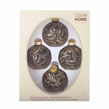 Zwarte kerstballen met gouden motief 4 stuks