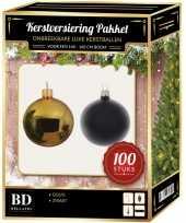 100 stuks kerstballen mix goud zwart voor 150 cm boom
