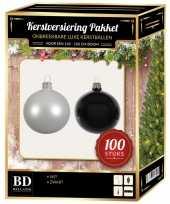 100 stuks kerstballen mix wit zwart voor 150 cm boom