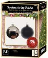 100 stuks kerstballen mix zilver zwart voor 150 cm boom