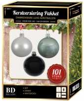 101 stuks kerstballen mix wit mint zwart voor 150 cm boom