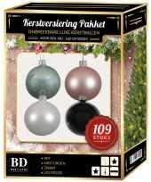 109 stuks kerstballen mix wit roze mint zwart voor 150 cm boom