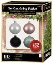 132 stuks kerstballen mix wit mint roze zwart voor 180 cm boom