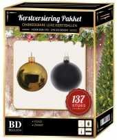 137 stuks kerstballen mix goud zwart voor 180 cm boom