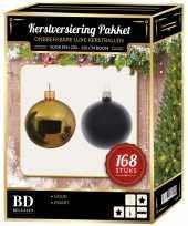168 stuks kerstballen mix goud zwart voor 210 cm boom