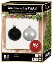 168 stuks kerstballen mix winter wit zwart voor 210 cm boom