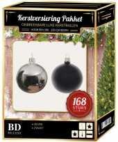 168 stuks kerstballen mix zilver zwart voor 210 cm boom
