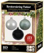 171 stuks kerstballen mix wit mint zwart voor 210 cm boom