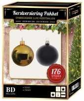 176 stuks kerstballen mix goud zwart voor 210 cm boom