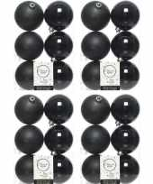 24x zwarte kerstballen 8 cm kunststof mat glans