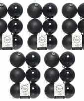 30x zwarte kerstballen 8 cm kunststof mat glans