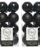 32x zwarte kerstballen 4 cm kunststof mat glans