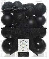 33x zwarte kerstballen met ster piek 5 6 8 cm kunststof mix