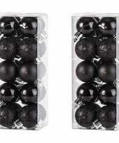 40x zwarte kerstballen 3 cm kunststof mat glans glitter