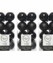 48x zwarte kerstballen 4 cm kunststof mat glans