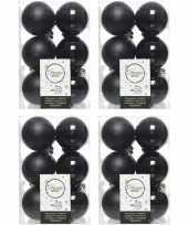48x zwarte kerstballen 6 cm kunststof mat glans