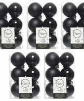 60x zwarte kerstballen 6 cm kunststof mat glans