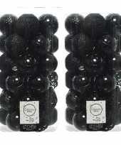74x zwarte kerstballen 6 cm kunststof mix