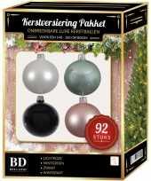 92 stuks kerstballen mix wit mint roze zwart voor 150 cm boom