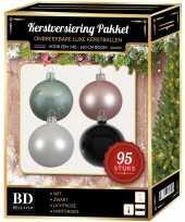 95 stuks kerstballen mix wit roze mint zwart voor 150 cm boom