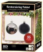 95 stuks kerstballen mix zilver zwart voor 150 cm boom