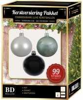 99 stuks kerstballen mix wit mint zwart voor 150 cm boom