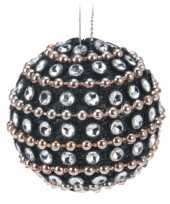 9x kerstboomversiering zwarte kerstballen met steentjes 3 5 cm
