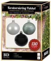 Kerstbal en piek set 130x wit mintgroen zwart voor 180 cm boom