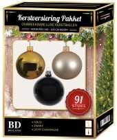Kerstbal en piek set 91x goud champagne zwart voor 150 cm boom