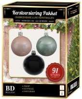 Kerstbal en piek set 91x wit mint zwart voor 150 cm boom