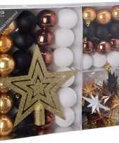 Kerstboom decoratie set 45 delig goud zwart wit