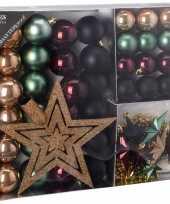 Kerstboom decoratie set 45 delig groen zwart goud